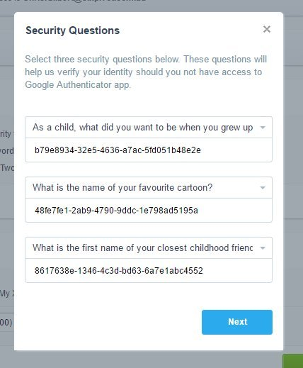 """Use random password-like text to answer security questions like """"who was your favorite childhood friend?"""""""