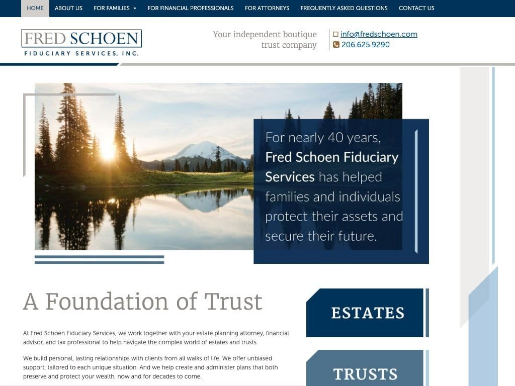 Chalkbox Studio redesigned the Fred Schoen Feduciary Services website
