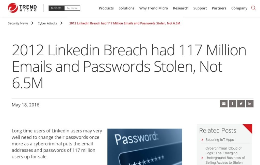 Screen shot of a news report about a LinkedIn security breach.